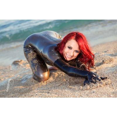 Silver Latex Catsuit At Beach Latex Fashion Shopping