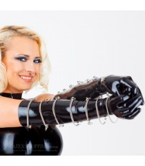 Black Long Latex Gloves with Metal Chains