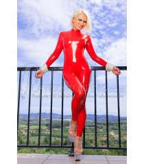 Red Latex Catsuit in Bondage