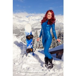 Blue Latex Catsuit in Snow